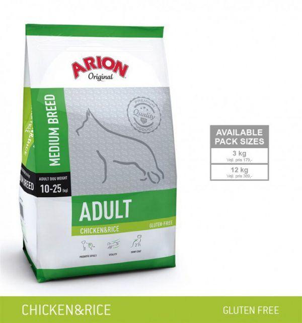 Arion Original Adult Medium Breed Hundefoder - Kylling og Ris - 12kg