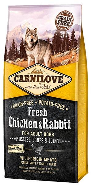 Carnilove Fresh Chicken + Rabbit, Adult Dogs m. frisk kød, 12 kg