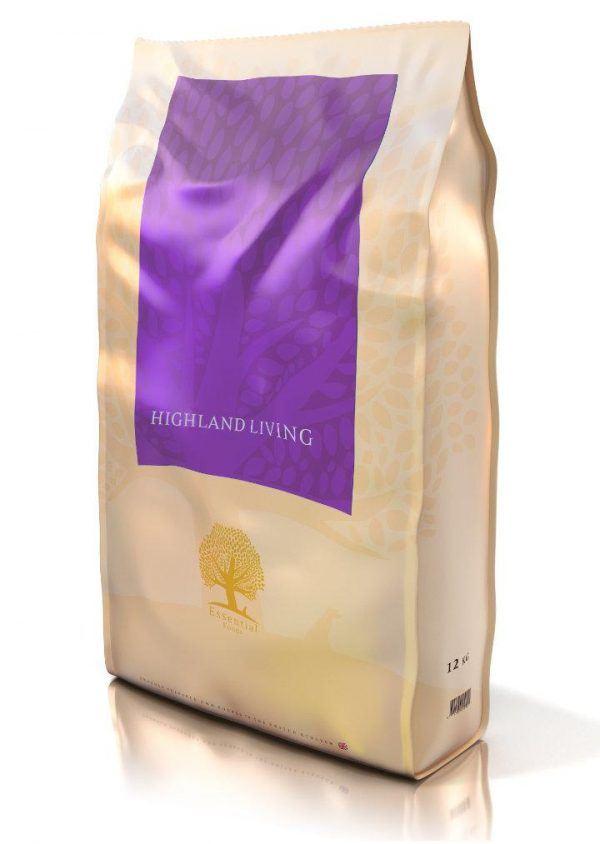Essential Highland Living, kornfrit hundefoder med fritgående skotsk angus okse & vildand, til voksne hunde af alle racer 12kg