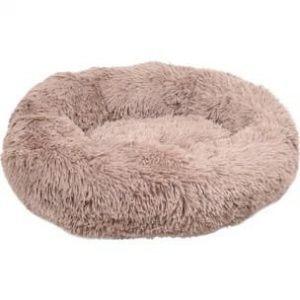 Flamingo Donut Fluffy Hundeseng - Lysebrun - Ø50cm