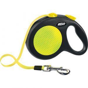 Flexi New Neon Hundeline - Med Reflekser - Bånd - Flere Størrelser