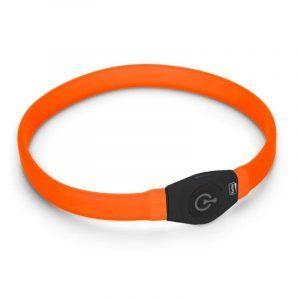 Halsbånd Langhåret Visio Light LED Orange