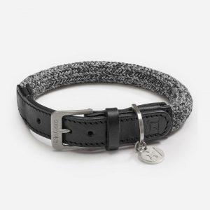 Halsbånd i bomuld og ægte læder - Lucca (sort), S: Halsmål (31-37 cm)