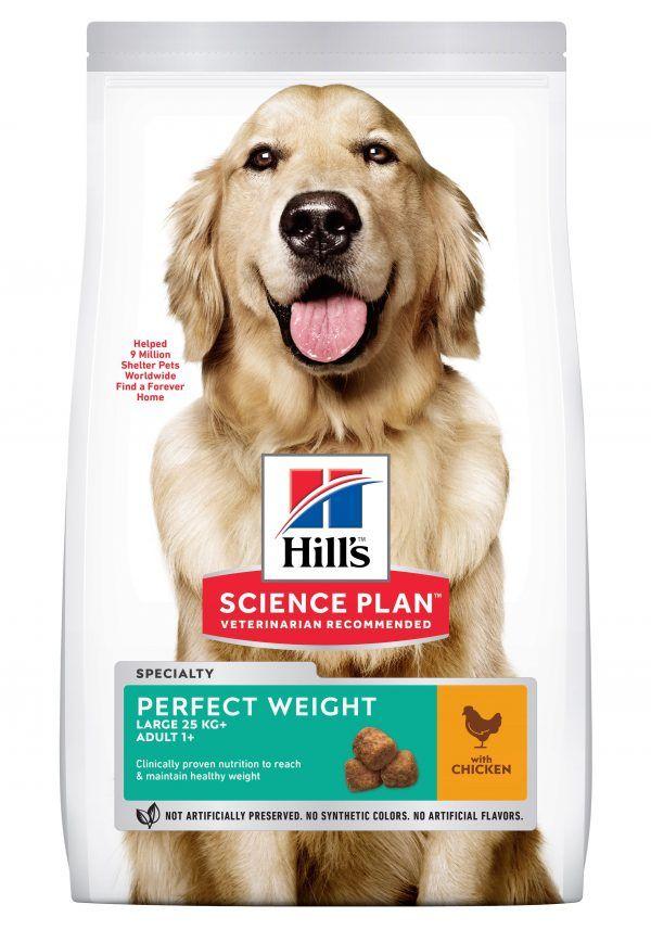 Hundefoder fra Hills, Perfect weight, tørfoder m/ kylling. 12kg Til voksne store hunde 1+