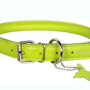 Læderhalsbånd, rundsyet, Lime Grøn