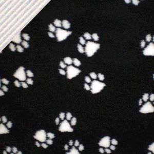 Luksus Vetbed hundetæppe, Sort med poter 100 x 150 cm