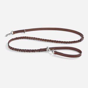 Robust long line i flettet læder 195 cm (brun) - Bergamo