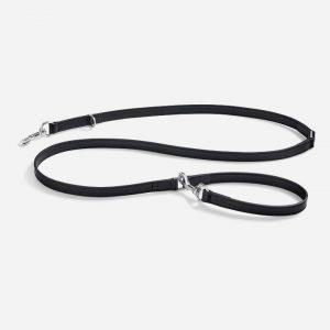 Robust long line i glat læder 195 cm (sort) - Bergamo