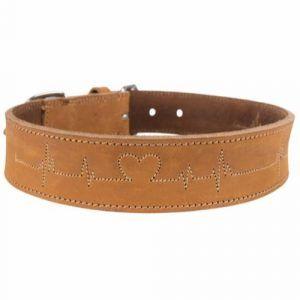 Rustic Læderhalsbånd Heartbeat brun L 47-55cm