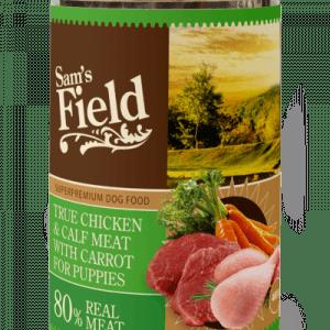 Sam´s Field Kornfri vådfoder Kylling og kalv til hvalp