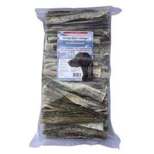 Torskeskind i stænger - tørret fiskeskind, 1 kg
