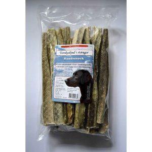 Torskeskind i stænger - tørret fiskeskind, 500 g