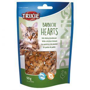 Trixie Premio Katte Snack Godbidder Barbecue Hjerte - Med Kylling - 50g - Sukkerfrie - Glutenfrie - 62% Kød - - - - -