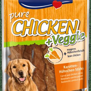 Vitakraft Chicken + Veggie - Hundegodbidder, Lækker tørret Kylling, snoet om gulerodsstænger