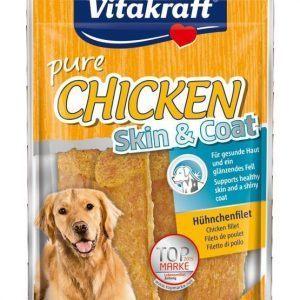 Vitakraft pure Chicken Skin & Coat - Hundegodbidder, Lækker tørret Kylling med hørfrøolie
