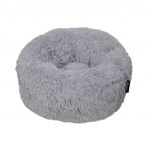 District 70 Fuzz Fluffy Donut Hundeseng, Light Grey