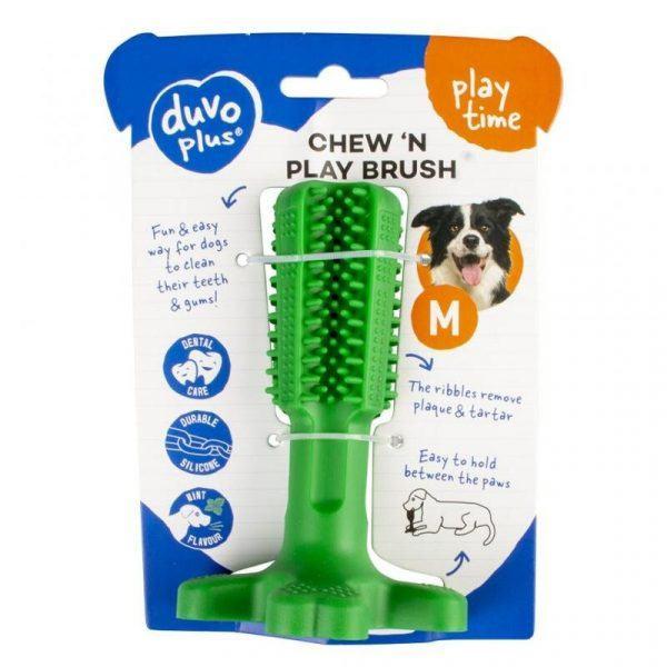 Duvo+ Hundelegetøjs Chew´N Play Børste - 12x7,6cm - Grøn