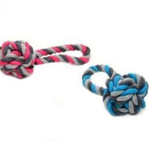 Duvo+ Hundelegetøjs Mikro Flettet Bold Med Reb, 12cm