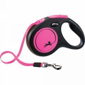 Flexi New Neon med Bånd Pink M (max. 25kg.) 5m