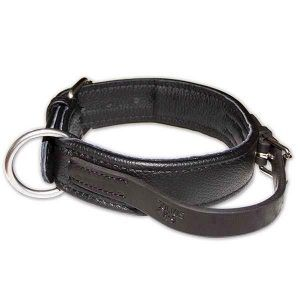 Øko læderhalsbånd med håndtag, 50 cm