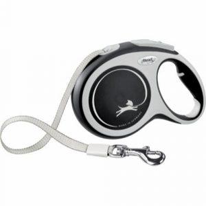 Flexi New Comfort, sort, udtrækkelig flad hundesnor