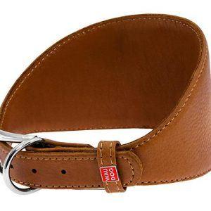 Læderhalsbånd Whippet, bredt foran, brunt