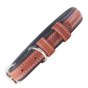 Soft læder hundehalsbånd brun/sort-L
