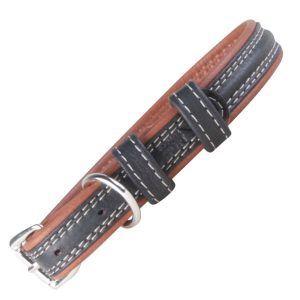 Soft læder hundehalsbånd sort/brun-L