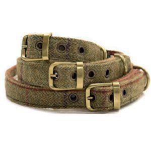 Tweedmill hundehalsbånd grøn-L