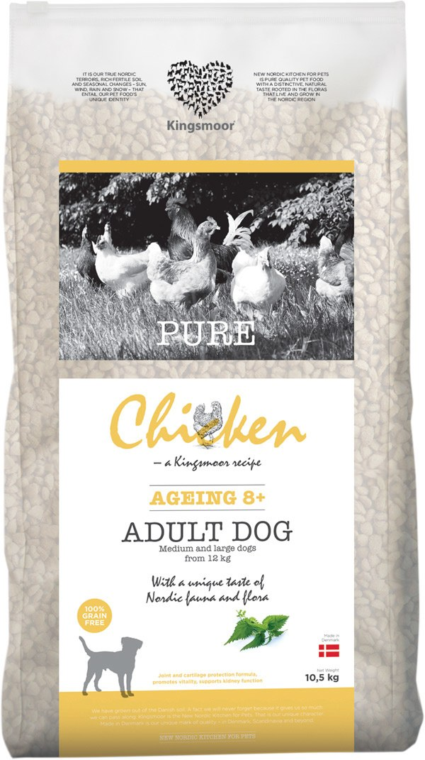 10,5 kg Kingsmoor Pure Dog Chicken age 8+ - Pure Senior Kingsmoor - mellem og store racer