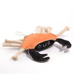 Carlos the Crab // Krabbe i ruskind og jute, naturligt hundelegetøj
