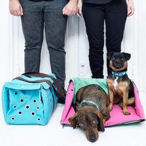 MELOLLEVO // Kombineret hundetaske og rejseseng i grøn med sennepsgul inderside - MELOLLEVO // Kombineret hundetaske og rejseseng i grøn med