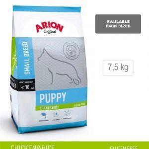 ARION ORIGINAL Puppy Small Breed, kylling og ris, 7,5 kg - incl. gratis levering og 2 slags godbidder