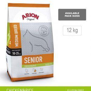 ARION ORIGINAL Senior Medium Breed, Kylling & Ris, 12 kg - incl gratis levering og 2 slags godbidder