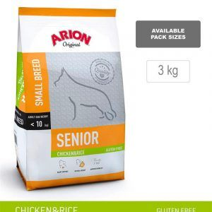 ARION ORIGINAL Senior Small Breed, Kylling & Ris, 3 kg - incl gratis godbidder