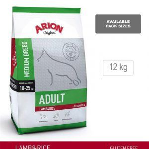 Arion Original Adult Medium Breed, Lam & Ris, 12 kg - incl gratis levering og 2 slags godbidder