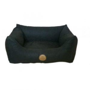 DC Comfort Alcantara Hundeseng i Blødt Materiale - Flere Størrelser - Sort