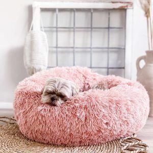 District 70 Fuzz Fluffy Donut Hundeseng, Old Pink