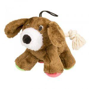 Duvo+ Hundelegetøjs Plys Hund - Med Rebhale - 17cm - Med Pivelyd