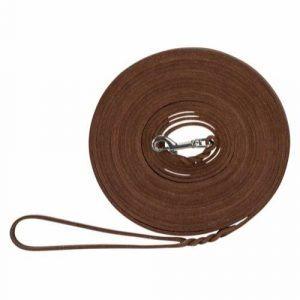 Trixie Hunde Sporline i Fedt Læder - Mørkebrun - 10m x 8mm