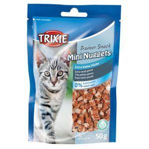 Trixie Katte Snack Godbidder Mini Nuggets - Med Tun, Kylling og Katteurt - 50g - 84% Kød - Sukkerfrie - - - - -