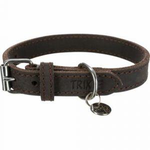 Trixie Rustik Fedt Læder Halsbånd - Flere Størrelser - Mørkebrun