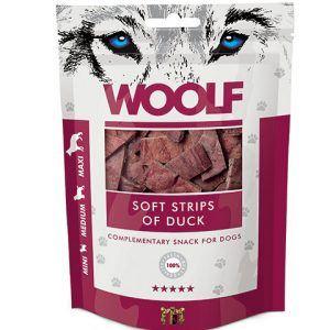 Woolf Hunde Snack Godbidder Strips - Med And - 100g - 90% Kød