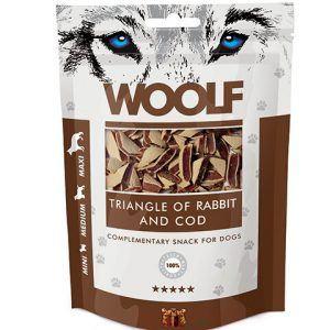 Woolf Hunde Snack Godbidder Trekanter - Med Kanin og Torsk - 100g - 90% Kød