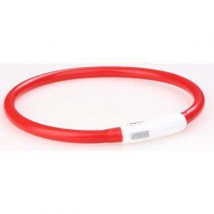 Hunde Lyshalsbånd - Med USB Kabel - Rød - 25-70cm