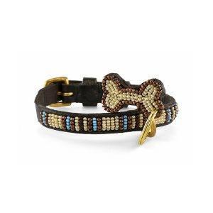 Zinj Blue Nile mikro // Håndlavet hundehalsbånd med perler (20-27 cm)