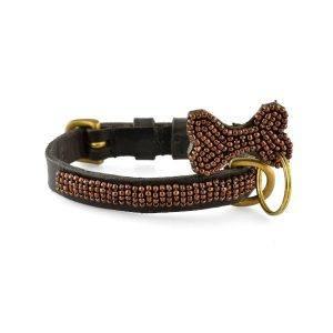 Zinj Copper mikro // Håndlavet hundehalsbånd med perler (20-27 cm)