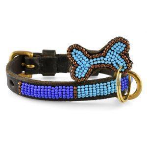 Zinj Kabaka Blue Mikro // Håndlavet hundehalsbånd med perler (20-27 cm)