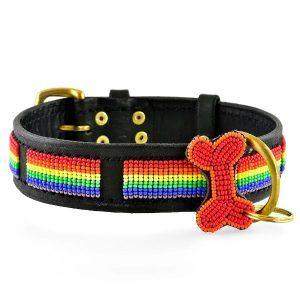 Zinj Rainbow // Håndlavet hundehalsbånd med perler - Zinj Rainbow // Håndlavet hundehalsbånd med perler